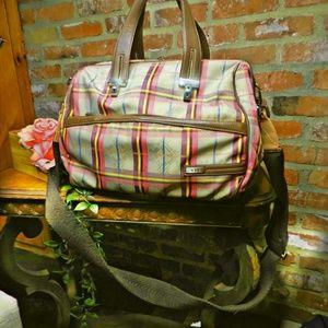 TUMI large plaid weekender laptop crossbody bag